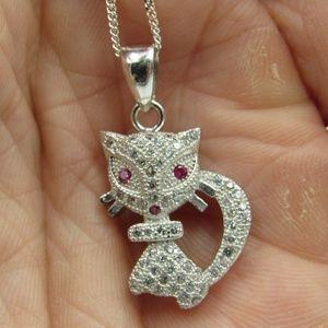 "Vintage 16"" Sterling Ruby & CZ Kitty Cat Necklace"